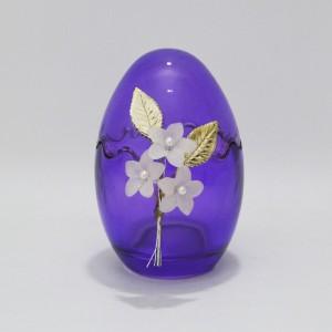 Αυγό μεσαίο γυάλινο ανοιγόμενο με επάργυρα λουλούδια Πασχαλινά δώρα Διακοσμητικα - papadopoulis.gr