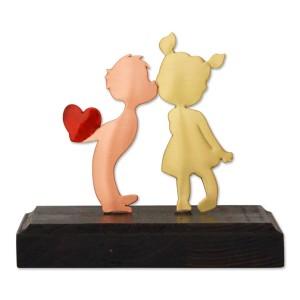 Ζευγάρι φιλί καρδιά σε ξύλινη βάση Επιτραπέζια Διακοσμητικά Διακοσμητικα - papadopoulis.gr