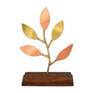 Κλαδί όρθιο με χειροποίητα φύλλα σε ξύλινη βάση