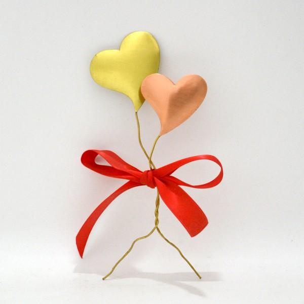 Διπλές καρδιές με κόκκινο φιόγκο Επιτραπέζια Διακοσμητικά Διακοσμητικα - papadopoulis.gr
