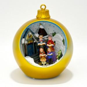Χριστουγεννιάτικη μπάλα φωτιζόμενη κίτρινη Γούρια 2021 Διακοσμητικα - papadopoulis.gr