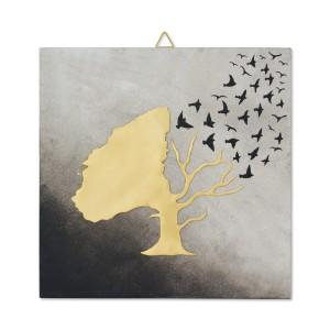 Χρωματιστό κάδρο με δέντρο και πουλιά Κάδρα Διακοσμητικα - papadopoulis.gr